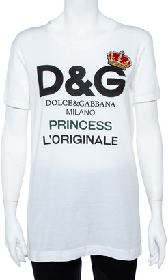 Dolce & Gabbana White Cotton Princess Logo T-Shirt S
