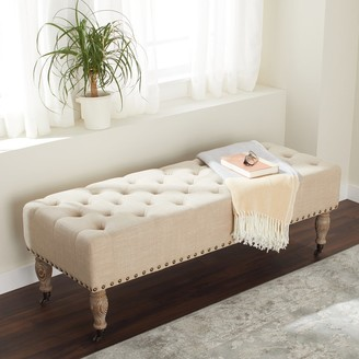 Abbyson French Vintage Tufted Wheat Linen Rectangle Ottoman Bench