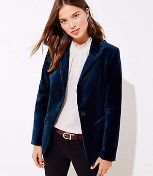 LOFT Petite Velvet Modern Blazer