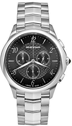 Emporio Armani Swiss Made Men's 'Dress' Swiss Quartz Stainless Steel Casual Watch