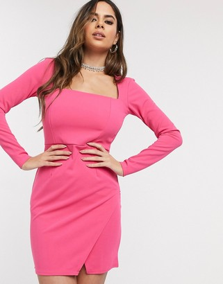 In The Style square neck mini dress in pink