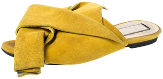 N°21 N21 Mustard Yellow Suede Knot Flat Mules Size 36