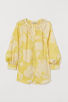 H&M V-neck Satin Blouse - Yellow