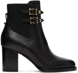 Valentino Black Garavani Beatle Rockstud Heeled Ankle Boots