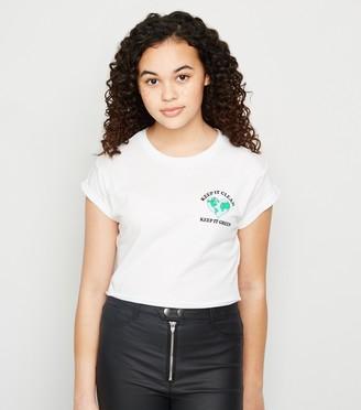 New Look Girls Keep It Clean Earth Slogan T-Shirt
