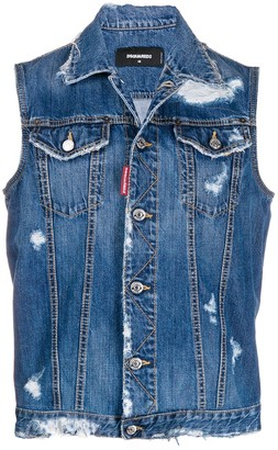 DSQUARED2 ripped detail sleeveless denim jacket