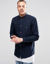 Weekday Regular Fit Bad Times Oxford Shirt Buttondown in Dark Blue