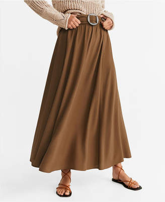 MANGO Tortoiseshell Buckle Skirt