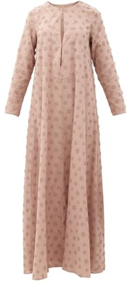 Dodo Bar Or Nili Floral-applique Cotton Maxi Tunic Dress - Light Brown
