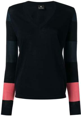 Paul Smith striped-sleeve v-neck sweater