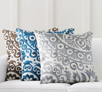 Pottery Barn Oversized Suzani Print Silk Pillow Cover