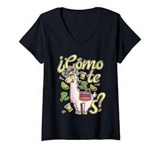 Womens Llama Alpaca Spanish Joke Como Te Llamas V-Neck T-Shirt