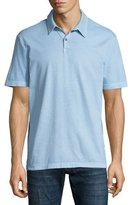 James Perse Sueded Jersey Polo Shirt, Light Blue