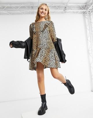 Miss Selfridge mini smock dress in leopard print
