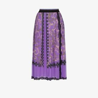 Emilio Pucci Lace-Trim Pleated Midi Skirt
