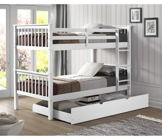Manor Park Solid Wood Twin Bunk Bed with Trundle Bed - White
