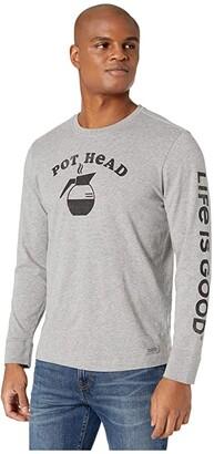Life is Good Coffee Pot Head Long Sleeve Crusher Tee (Heather Gray) Men's Clothing