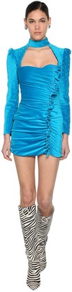 Giuseppe di Morabito Beaded Velvet Mini Dress W/ Ruffles