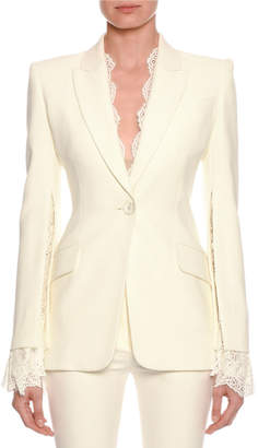Alexander McQueen Lace-Trim Single-Breasted Blazer