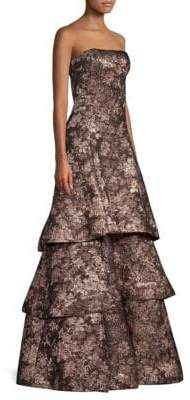 Aidan Mattox Strapless Tiered A-Line Jacquard Gown