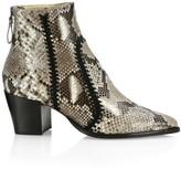 Alexandre Birman Benta Embroidered Python Ankle Boots
