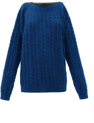 Raf Simons Zipped-neckline Cable-knit Wool Sweater - Blue