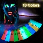 Fluorescent Body Paint, Molie 10 Colors Backlight Reactive Paint Face and Body Paint Glow Kit Painted Luminous Paint Body Luminous Pigments