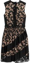 Sonia Rykiel Ruffled Corded Lace And Crepe Mini Dress