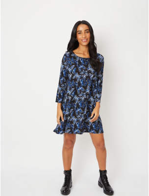 George Blue Butterfly Print Longline Tunic Top