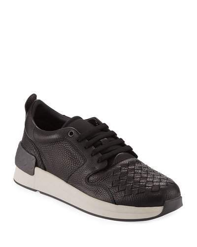 Bottega Veneta Men's Intrecciato Leather Low-Top Sneakers
