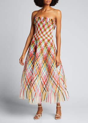 Oscar de la Renta Strapless Plaid Tulle Dress