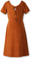 Speechless Short-Sleeve Caramel Faux-Suede Fit-and-Flare Dress - Girls 7-16