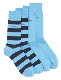 HUGO BOSS Two Pack Of Regular Length Socks In A Combed Cotton Blend - Turquoise
