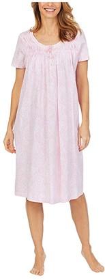 Carole Hochman Soft Jersey Short Sleeve Waltz Gown (White Multi Floral) Women's Pajama