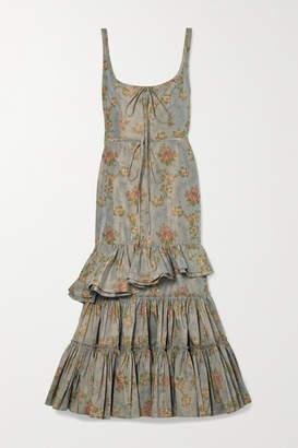 Brock Collection Onilde Tiered Floral-print Cotton-blend Poplin Maxi Dress - Gray green