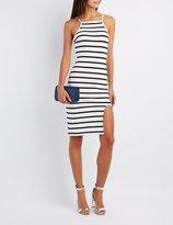 Charlotte Russe Striped Bib Neck Bodycon Dress