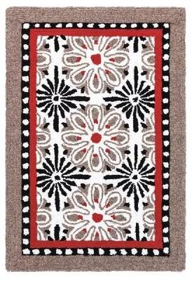 Company C Carreaux Geometric Handmade Hooked Wool Black/Red Area Rug CompanyC Rug Size: Rectangle 2' x 3'