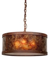 Mica Unger 3-Light Drum Chandelier Millwood Pines Finish: Architectural Bronze, Shade Color: Amber