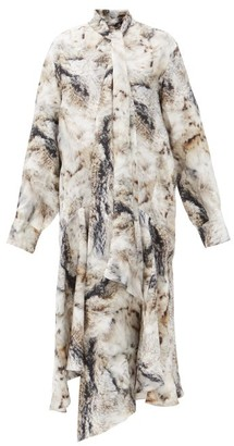 Petar Petrov Andrea Pussy-bow Fox Fur-print Silk Dress - Grey Print