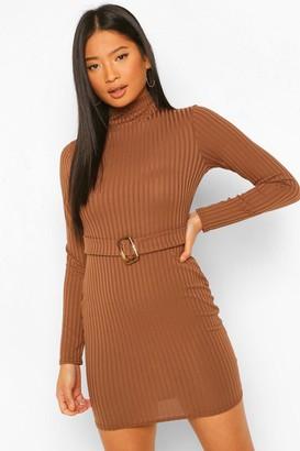 boohoo Petite Long Sleeve Belted Rib Mini Dress