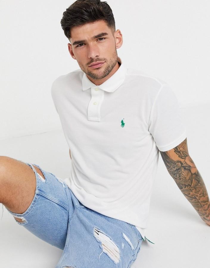 Polo Ralph Lauren player logo recycled polyester pique polo sleeve logo custom regular fit in cream