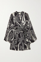 Thumbnail for your product : Dries Van Noten Doosey Belted Printed Silk Wrap Mini Dress - Black