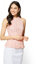 New York & Co. 7th Avenue - Lace Peplum Halter Top