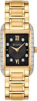 Bulova 34mm Rectangular Bracelet Watch w/ Diamond Bezel, Yellow Golden