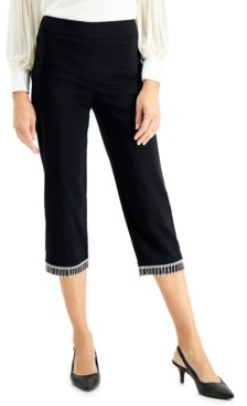 JM Collection Diamonte Fringed Pull-On Capri Pants, Created for Macy's