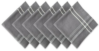 "Dii DII Chambray French Stripe Kitchen Napkin Set, Set of 6, 20""x20"", 100% Cotton, Multiple Colors"