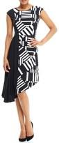 London Times Asymmetrical Midi Dress