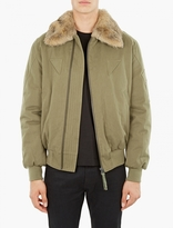 Yves Salomon Khaki Fur-trimmed Aviator Jacket