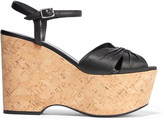 Saint Laurent Candy textured-leather cork wedge sandals