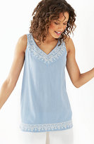 J. Jill Embroidered Crinkled-Cotton Tank